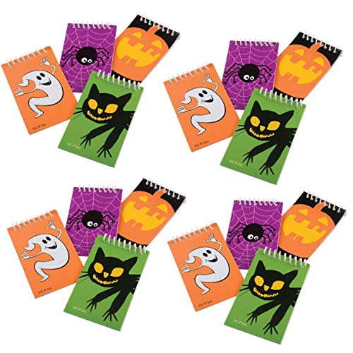 Set of 16 Adorable Halloween Mini Spiral Notebooks - Party Favor Goody Bag Trick or treat giveaway