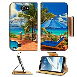 Palm Tree Cloudy Tropical Scenery Samsung Galaxy Note 2 N7100 Flip Case Stand Magnetic Cover Open Ports