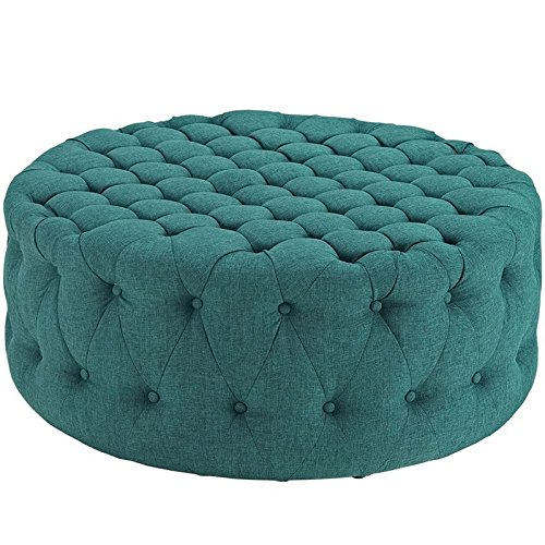 Modway Amour Fabric Upholstered Button-Tufted Round Ottoman in Teal