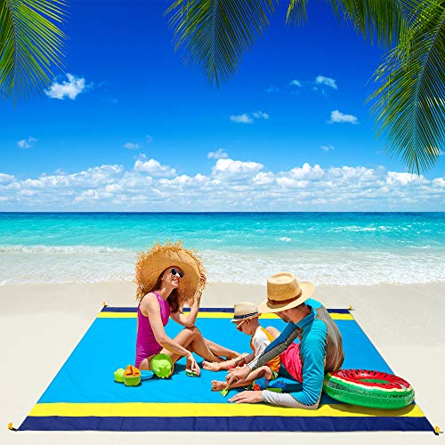 "Beach Blanket, WIWIGO Beach Mat Sandproof Picnic Blanket Large Compact for 4-7 Persons Waterproof and Drying Camping Blanket Made by Nylon Pocket Picnic for Outdoor Travel with Storage Bag (78"" X 82"")"