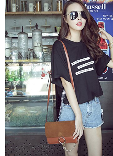 Messenger Womens Brown Shoulder Totes Flat Hobos Handbags Bags FTSUCQ Frosted w4qxZ6n4