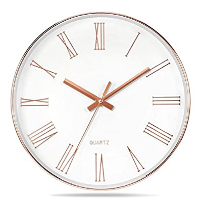 "Vitaa 12 Inch Modern Wall Clock, Silent Non-Ticking Quartz Decorative Battery Operated Wall Clock for Living Room Home Office School Rose Gold Plastic Frame Glass Cover(Rose-Gold,Roman Numerals) - Rose gold color electroplated on frame and numbers with white background. This ABS-framed wall clock measures 12 inches in diameter,1.4"" Deep.The large decorative wall clock is perfect for office ,living room, classroom, bedroom, bathroom. Wall clock with large numbers are clear to read and front glass cover guarantees perfect view. - wall-clocks, living-room-decor, living-room - 51A7XA6W bL. SS400  -"
