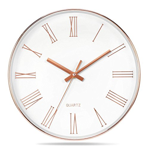 Vitaa-12 Inch Morden Decorative Silent &Non-Ticking Quartz Round Wall Clock And Battery Operated,For Living room/Kicken/Office/School,Large 3D Numerals (Rose-gold) (White White Gold Clock)