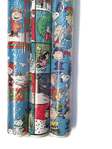 Peanuts - Charlie Brown & Snoopy 60 sq ft Holiday Christmas Gift Wrapping Paper
