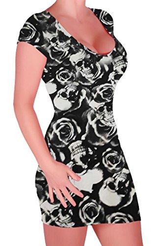 eeve Bodycon Short Mini Dress - Black Skull - Small/Medium (Skull Mini Dress)