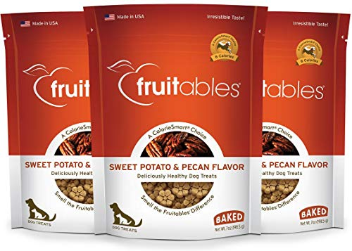 Cinnamon Flavor Small Dog Treats - Fruitables 7 Ounce Crunchy Sweet Potato and Pecan Biscuit Training Treat for Dogs 3 Pack