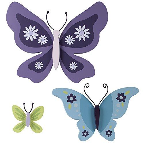 NoJo Beautiful Butterfly 3 Piece Wooden Butterflies Shaped Wall Decor, Purple/Aqua/Green