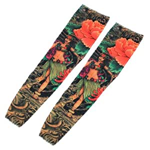Girl Pattern Stretchy Temporary Fake Tattoo Arm Sleeve Oversleeve 2Pcs