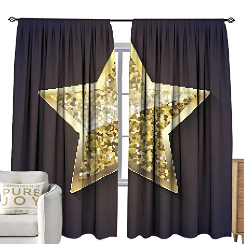WinfreyDecor Blackout Curtains Golden Star with Glitter and Reflex Home Garden Bedroom Outdoor Indoor Wall Decorations 108W x 84L Inch ()