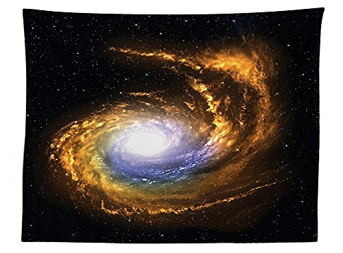 vipsung Galaxy Tablecloth Nebula Cloud with Cosmic Rays Galactic Exploring Celestial Bodies Space Art Dining Room Kitchen Rectangular Table Cover Orange (30h Gray Nebula Tables)