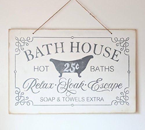Amazon.com: Letrero de baño para decoración de baño, toallas ...