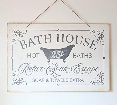 Bath House Sign Bath Decor Vintage Bathroom Hot Baths Soap Towels Bathroom Decor Rustic Farmhouse Shabby Chippy -