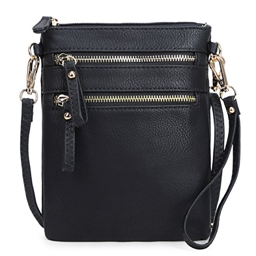 Solene Women's Faux Leather Organizer Multi Zipper Pockets Handbag With Detachable Wristlet Crossbody Bag,Black,Small ()