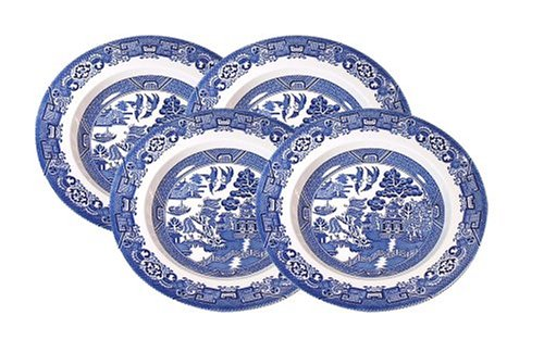 Wood and Sons Blue Willow Dinner Plates, Set of 4