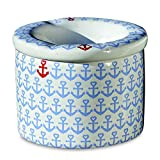 Whole House Worlds The Ahoy Mate Outdoor Smokeless Ashtray, Nautical, Lift Off Lid, 2 Pieces, White With Pale Blue Heart Topped Anchors, Glazed Ceramic, 3 1/2 in Diameter x 2 3/4 Inches Tall, By