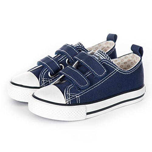 Weestep Toddler/Little Kid Boy and Girl Classic Adjustable Strap Sneaker (10 M US Toddler, Navy)