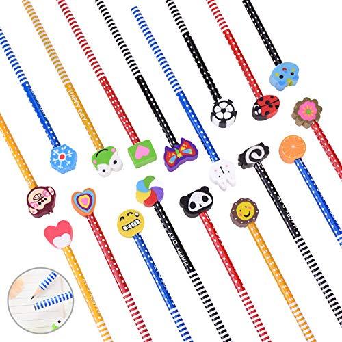 OZUAR Set matita del fumetto, 48 Pezzi Matita in Legno con Gomma Matite Grafite Colorate con Gomme per Bambini Alunno Adulti 18cm