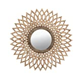 ZI LIN SHOP- Log Color Solid Wood Hollow Mirror Wall Hanging Living Room Entrance Wall Retro Round Decorative Mirror rug