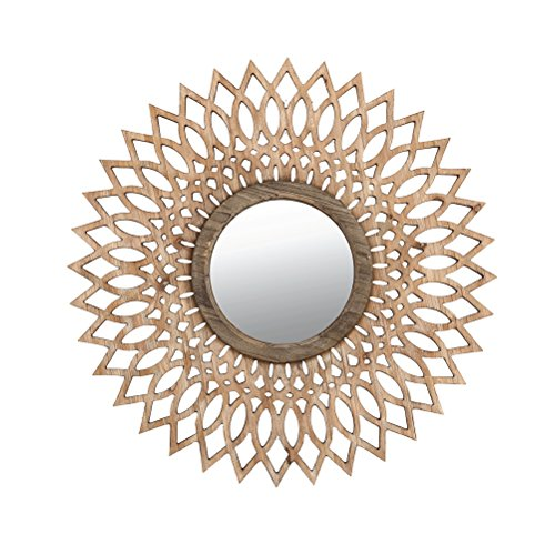 ZI LIN SHOP- Log Color Solid Wood Hollow Mirror Wall Hanging Living Room Entrance Wall Retro Round Decorative Mirror rug by Shoe rack