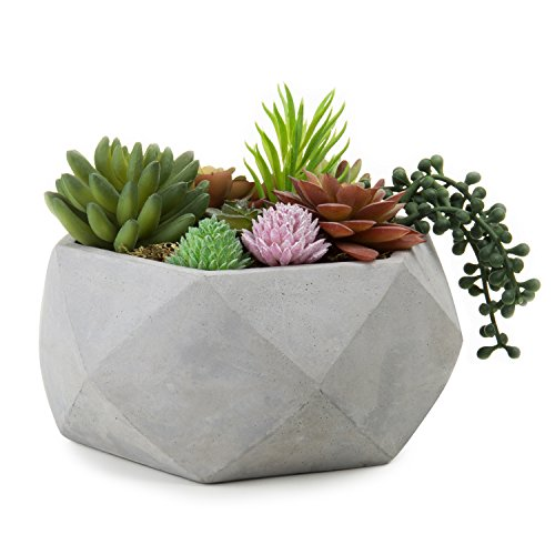 MyGift 8-Inch Geometric Cement-Tone Succulent Planter Bowl (Round Clay)
