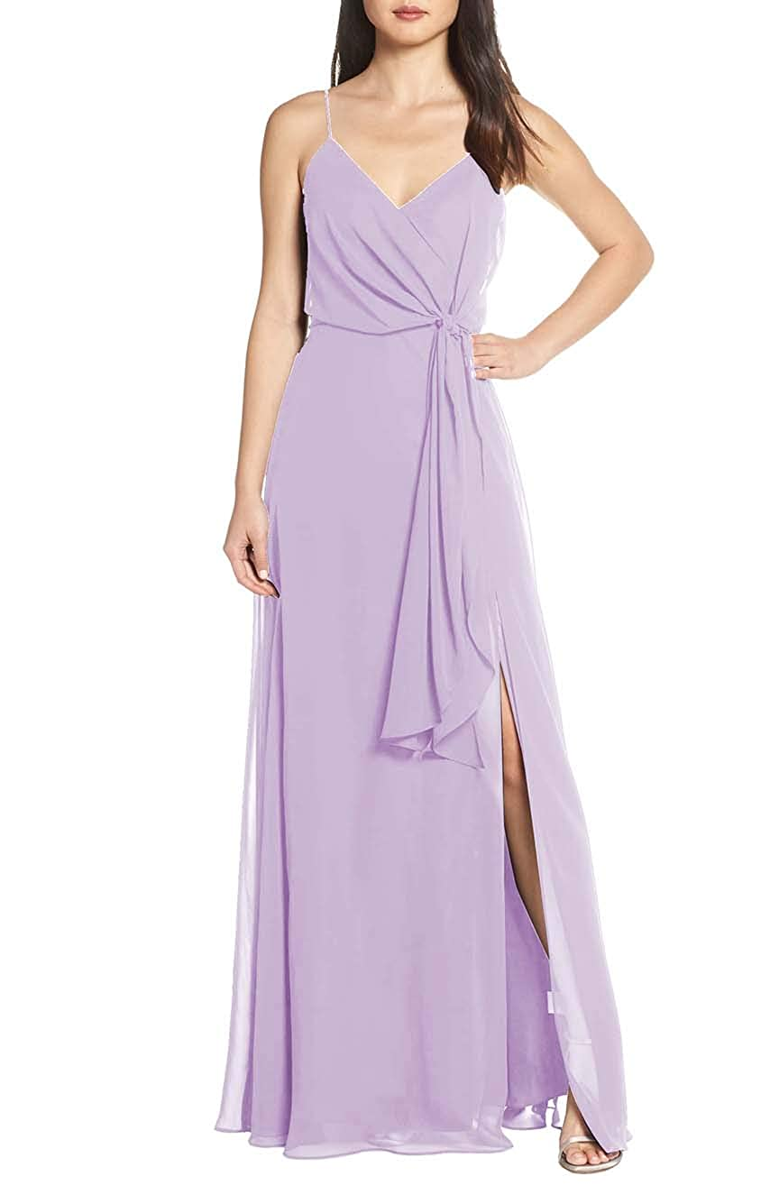 Light Purple V Neck Spaghetti Strap Evening Dress for Women Formal Bridesmaid Party Prom Gown