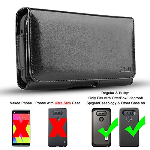 LG V20 Holster, J&D PU Leather Holster Pouch Case with Belt Clip, Leather ID Wallet Case for LG V20 (Only Fits with OtterBox/Lifeproof/Spigen/Other Thick Case on)