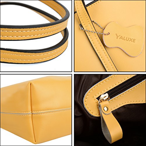 Yellow Bags Genuine Yaluxe 2018 Simple Handbag Leather Women's Tote Designer Top Version Updated Handle Inspired p6qw44
