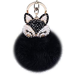 Black-2 Fur Ball Keychain with Fox Head Studded with Rhinestone