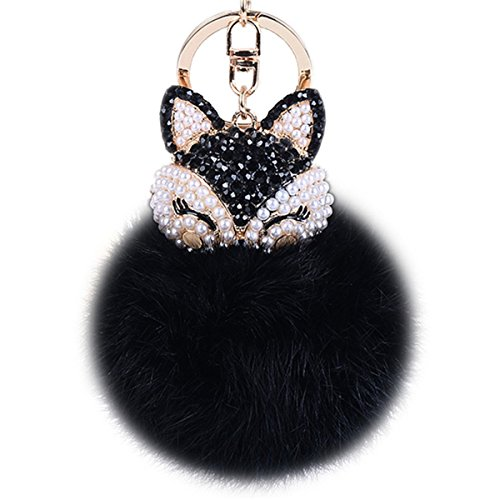 (Boseen Genuine Rabbit Fur Ball Pom Pom Keychain with A fashion Alloy Fox Head Studded with Synthetic Diamonds(Rhinestone) for Womens Bag Cellphone Car Charm Pendant Decoration(Black Style 2))