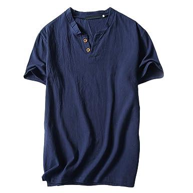 Bestow Top de Manga Corta de algodón y Lino para Hombre Blusa de Verano para Hombre Camiseta de Manga Corta con Cuello en V Camiseta con Cuello Alto: ...