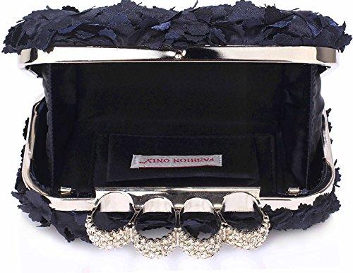 Navy Hardcase Handbag New Bag Design Ladies 1 Look Chain Floral Box Design With Designer Evening Clutch qPRISUWwZ