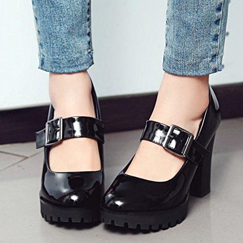 COOLCEPT Mujer Moda Chunky Tacon alto Mary Jane Fiesta Vestir Bombas Zapatos Negro