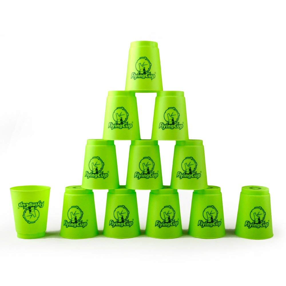 Green 6 Sets GOGO 6 Sets Quick Stacks Cups Flyingcup Sport Stacking Cup Stacking Speed Training Game (Green)