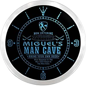 ncqe0150-b MIGUEL'S Ice Hockey Mave Cave Den Beer Bar LED Neon Sign Wall Clock