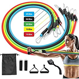 Resistance Bands Set, 5 Stackable Elastic Bands for Exercise,Portable Gym Equipment for Home Includes Door Anchor, Workout Guide, Legs Ankle Straps, Foam Handles, and Storage Bag