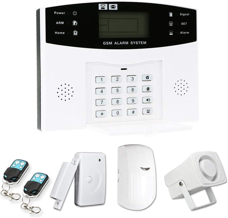 OWSOO 433MHz Sistema de Alarma GSM SMS, Sistema de Alarma Inalámbrico, Soporta Control Remoto de Phone APP, Alarma de SMS/ Marcación, Intercomunicador por Teléfono, Temporización de Armado/Desarmado