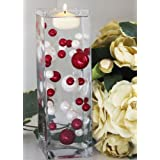 68 Red and White Pearl Beads including the Clear JellyBeadZ . Great for Wedding Centerpieces and Decorations