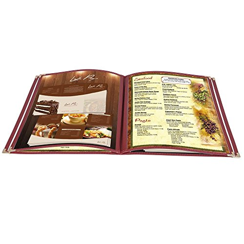 Yescom 20 Pack Food Restaurant Cafe Menu Covers Foldable 8.5x11inches Burgundy Trim 4 Pages 8 Views