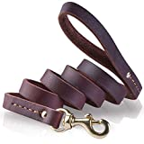 Leather Dog Leash, PETBABA 6ft Long Durable Training Genuine Leather Training Dog Lead for Dogs