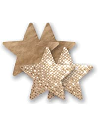 Nippies Gold Sequin Satin Star Waterproof Adhesive Nipple Cover Pasties 2 Pairs