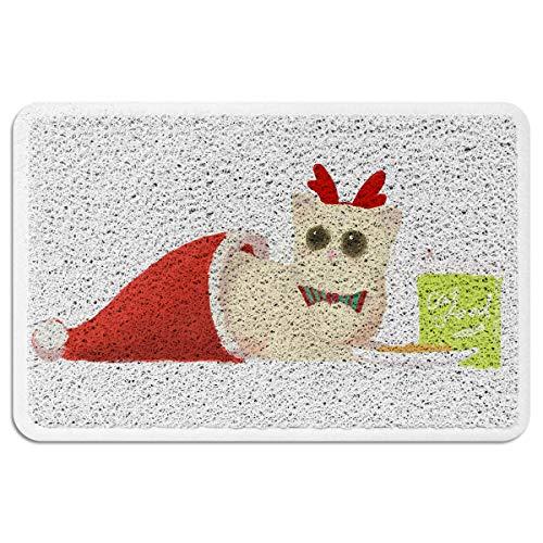 (EZON-CH Doormats for Entrance Way Outdoors Indoor,Cat in The Chirstmas Hat All Weather Door Mats for High Traffic Areas Floor Mats with Shoe Scraper,24 x 35)