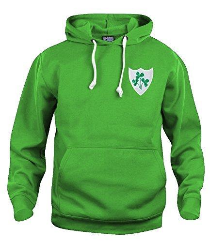 rétro IRLANDA National Rugby felpa con cappuccio RICAMATO LOGO (XL)