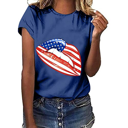 WILLBE Independence Day Print Short Sleeve, Women Plus Size Blouse Summer Short Sleeve Sexy Lips Mouth Tops Cute Top Navy ()