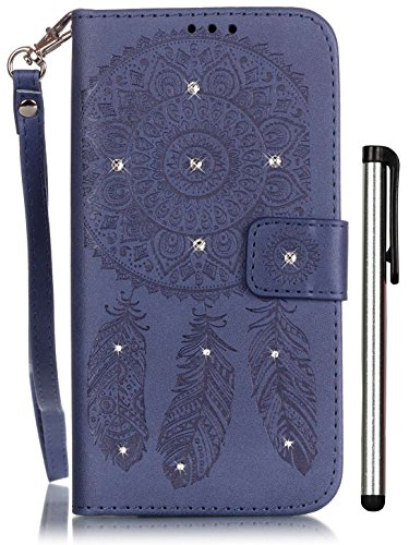 (Galaxy S7 Folio Case Wallet Dark Blue Leather Full Body Magnet Book Cover Cell Phone Accessories with Bling Crystal Stand 3 Credit Card Holder Cash Slot Wrist Strap Handmade Embossed)
