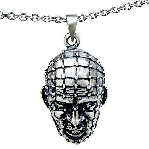 OhDeal4U Halloween Horror Pinhead Hellraiser Pewter Pendant Charm Amulet Necklace Choker (Stainless Steel Chain) -