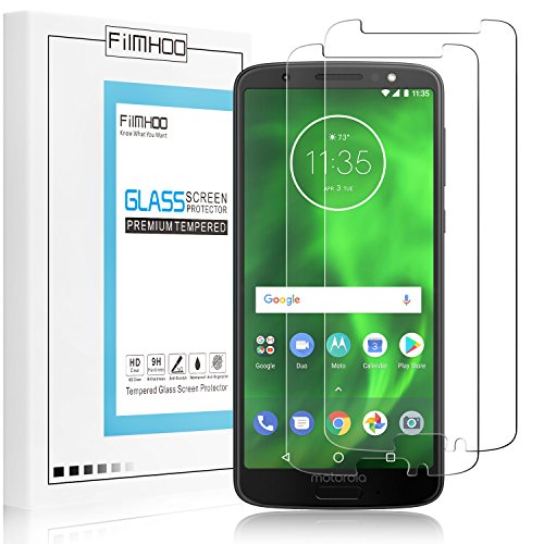 [2-Pack]FilmHoo for Motorola Moto G6 Premium [Upgraded] Tempered Glass Screen Protector,HD Clear,Bubble Free,Anti-Scratch,Lifetime Replacement Warranty