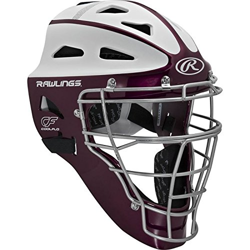 (Rawlings Sporting Goods Youth Softball Protective Hockey Style Catcher's Helmet, Maroon/White)