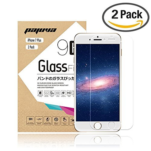 iPhone 7 Plus Screen Protector Tempered Glass, Pajuva 2.5D Rounded Egde 9H HD for Apple iPhone 7 Plus (2 Pack) by Pajuva (Image #1)