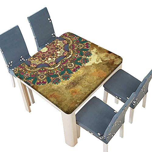 (PINAFORE Jacquard Polyester Fabric Tablecloth Indian Paisley Like Mandala Decor with Flowers Leaves and Buds Wear Art Image Summer & Outdoor Picnics 53 x 53 INCH (Elastic Edge))