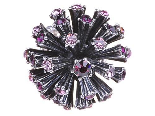 Alilang Amethyst Purple Rose Crystal Rhinestone Starburst Big Bang Flower Firework Ring (Starburst Ring Adjustable)
